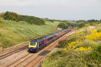 43179 'Pride of Laira' & 43183 have charge of 1L34 07.28 Swansea to Paddington passing Pilning village. Wednesday 23rd July 2014.