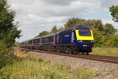43027 'Glorious Devon' & 43151 have charge of 1L34 07.28 Swansea to Paddington at Shrivenham. Wednesday 30th July 2014.