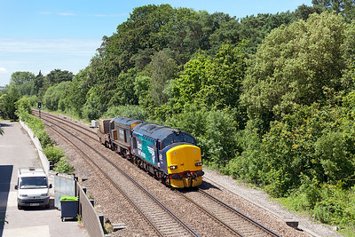 Newly re-liveried 37218 leads a very grubby 20304 and FNA 550044 past Ram Hill as 6M63 11.58 Bridgwater to Crewe Coal Sidings flask train. Friday 13th June 2014.