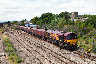 66102 passes Magor with 4C83 10.50 Aberthaw Power Station to Avonmouth empty hoppers. Saturday 12th July 2014.