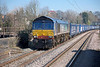 66304 passes Northfield station with 4V38 09.45 Daventry to Wentloog 'Tesco Express'. Sunday 9th March 2014.