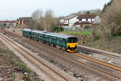 150002 passes Undy forming 2C73 10.59 Cardiff Central to Taunton. Monday 6th March 2017.