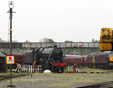 8F 48151 is turned on the Carnforth (10A) turntable whilst being prepared for working a steam tour the following weekend. 17/05/2011