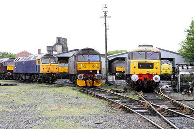 Line up of loco's outside the West Coast Railways Carnforth shed including 47580, 37669 & 47237. 17/05/2011
