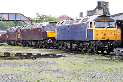 Line up of loco's outside the West Coast Railways Carnforth shed including 47237, 33025 & 33029. 17/05/2011
