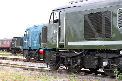 After the 'Peak' boys had shunted the loco's about to get them ready for the Diesel Gala the following day they had without knowing it, placed them in perfect order of Class 44, Class 45 & Class 46 outside the shed at Swanwick Junction, MRC. 20/05/2011
