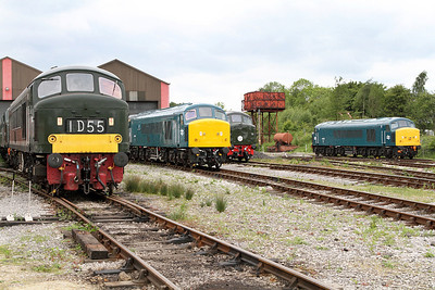Peaks D182, 45041, D4 & 45133 in the loco yard at Swanwick Junction, MRC. 20/05/2011