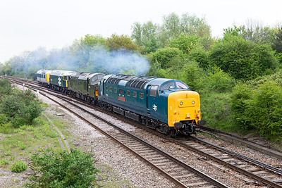 55002 'The King's Own Yorkshire Light Infantry' drags D6700, 47292 and prototype HST power car 41001 past Filton Abbey Wood running as 0Z56 08.31 Kidderminster to the Swanage Railway for the gala. Friday 2nd May 2014.