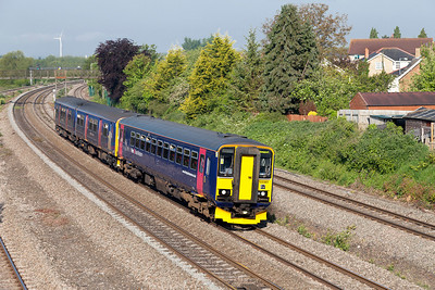 153361 & 150265 pair up to form 2C67 08.15 Newport to Paignton passing Undy. Friday 16th May 2014.