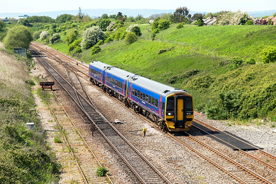 158960 forming 2C79 14.15 Newport to Taunton passing Pilning Village. Friday 16th May 2014.