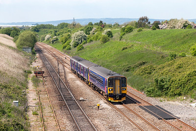153372 & 150126 forming 2C77 13.15 Newport to Exeter St. Davids pass Pilning Village. Friday 16th May 2014.