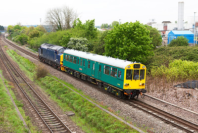 37423 'Spirit of the Lakes' in unbranded livery pushes Saloon 975025 'Caroline' past Patchway running as 2Z02 06.30 Paddington to Cardiff Central via Newbury and Oxford. Friday 2nd May 2014.