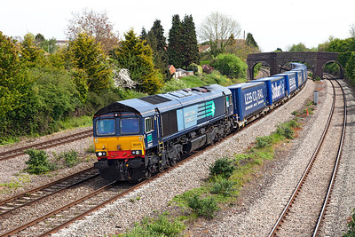 66421 passes Undy with 4V38 09.45 Daventry to Wentloog Tesco Express. Sunday 4th May 2014.