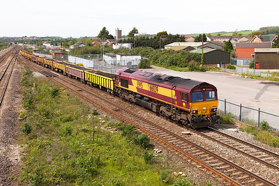 66039 passes Severn Tunnel Junction with 6W10 10.31 Margam to Hinksey Yard spent ballast. Sunday 4th May 2014.