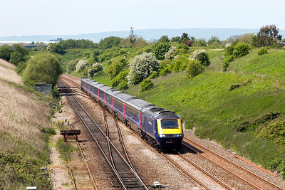 43037 'PENYDARREN' heads the 1L62 12.22 Swansea to Paddington past Pilning Village. 43177 is the rear power car. Friday 16th May 2014.