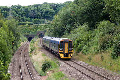 158953 emerges from Patchway Tunnel and passes Cattybrook forming 2U18 13.08 Taunton to Cardiff Central. Tuesday 26th July 2016.