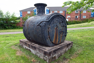 This rather battered smokebox is plinthed at the side of Scotia Road, Burslem, Staffordshire. It is one of a number of railway items along a walkway (The PotteriesGreenway) which was originally the trackbed of the North Staffordshire Railway's Loop Line between Hanley, Burslem & Tunstall. Why it would have a smoke box from a GWR 2-8-0 goodness only knows. If anybody can shed any further light please let me know. Friday 1st July 2016.