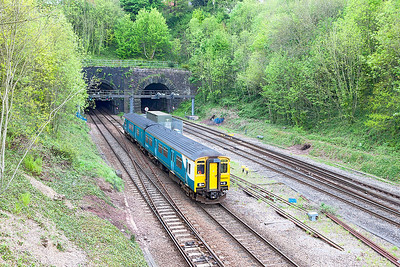 150245 emerges from Hillfield Tunnel at Gaer Junction forming ATW service 2G55 11.46 Cheltenham Spa to Cardiff Central. Wednesday 3rd May 2017.