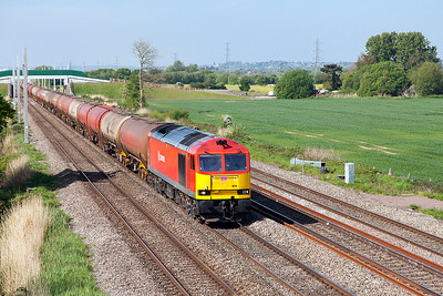 60074 heads 6B13 05.00 Robeston to Westerleigh loaded Murco tanks past Green Lane, Duffryn. Wednesday 10th May 2017.
