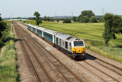 67029 'Royal Diamond' pushes the 1V91 05.33 Holyhead to Cardiff Central WAG Express past Green Lane, Duffryn. Tuesday 20th June 2017.