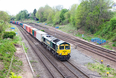 Running in the afternoon path, 66588 passes Gaer Junction with 4O57 13.29 Wentloog to Southampton Maritime Container Terminal. Wednesday 3rd May 2017.