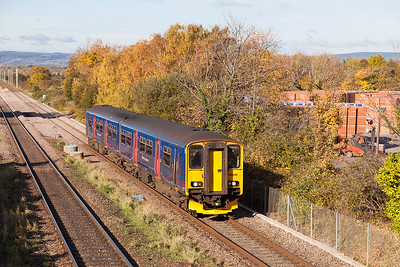 Running some 50 minutes late due to an axle counter failure at Patchway Tunnel, 150243 passes Cattybrook forming 2C71 10.00 Cardiff Central to Taunton but, it was terminated at Bristol Temple Meads due to the late running. Wednesday 2nd November 2016.