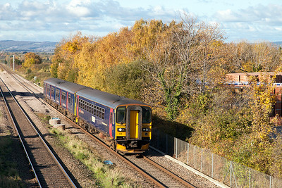 153361 & 150102 climb past Cattybrook forming 2C73 11.00 Cardiff Central to Taunton but terminated at Bristol Temple Meads due to late running. Wednesday 2nd November 2016.