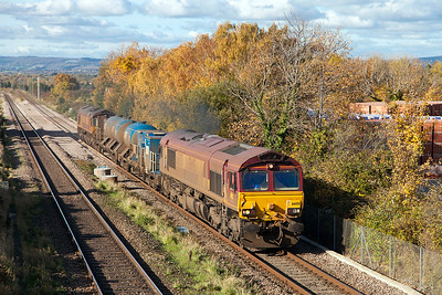 The Bristol Barton Hill based RHTT running as 3S59 top & tailed by 66051 & 66133 climbs past Cattybrook running 72 minutes late due to the axle counter failure. Wednesday 2nd November 2016.
