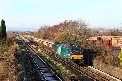 68023 'Achilles' & 68016 'Fearless' top and tail the Northern Belle dining excursion running as 1Z12 12.04 Cardiff Central to Swindon via Bristol Temple Meads past Cattybrook. Wednesday 7th December 2016.