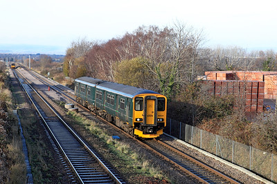 150234 forming 2C75 12.00 Cardiff Central to Taunton passes Cattybrook. Wednesday 7th December 2016.