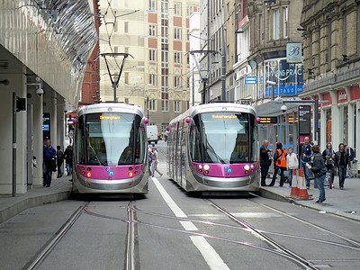 Midland Metro CAF Urbos 3 tram's, 17 & 21 stand at the terminus, Grand Central in Stephenson Street on service's from and to Wolverhampton. Saturday 29th October 2016.