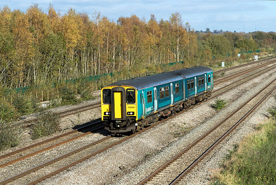 150 280 forming 2L59 13.15 Cheltenham Spa to Maesteg passes Undy. Friday 27th October 2017.