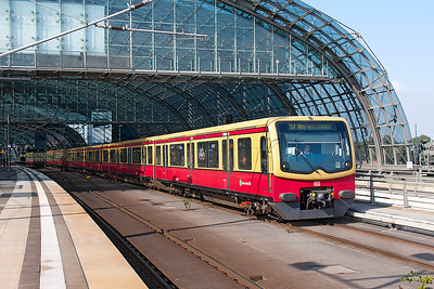 An S7 line service to Ahrensfelde departs from the S-Bahn side of Berlin Hauptbahnhof. 24th September 2008.