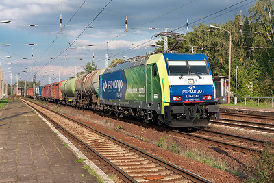 PKP Cargo's EU43-001 brings a mixed freight for New Seddin Yard past Genshagener Heide. 24th September 2008.