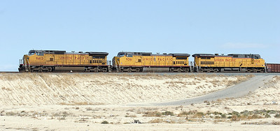 UP 9423, UP 9361 (both C41-8's) & UP 9730 (C44-9) stabled at Valley Yard, north of Las Vegas. 03/05/2007.