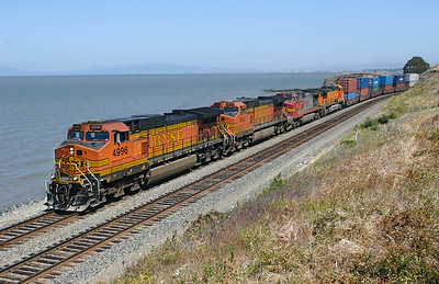 BNSF 4996, BNSF 5413, BNSF 774 & BNSF 4427 (all C44-9W's) head an Oakland bound double stack train past Hercules on Wednesday 9th May 2007.