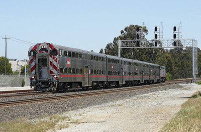 Caltrain 903 (F40PH-2) pushes train 51 from San Jose to San Francisco past Milbrae. 10/05/2007.