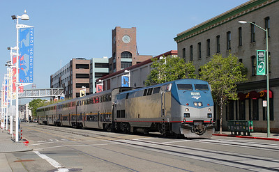 AMK 51 (P42B) heads train 531 Sacramento to Jack London Square on the last leg of its journey down the street to the station. 26/04/2007.
