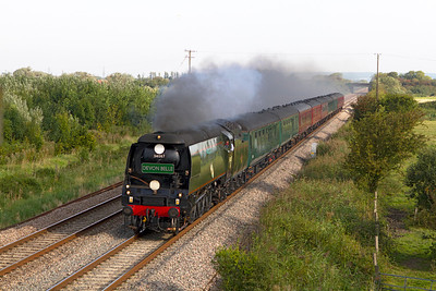 34067 'Tangmere' heads the 'Royal Duchy' from Bristol Temple Meads to Par past Middle Street, Brent Knoll. Sunday 9th September 2012.