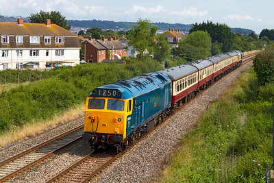50044 'Exeter' heads the 1Z50 09.15 Cardiff Central to Pingnton GBRF Staff/Charity charter along the Weston-super-Mare avoiding line at Oldmixon with 66720 dead on the rear. Saturday 21st July 2012. Stock comprised of 5341, 1832, 3097, 3120 & 17015.