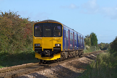 150101 heads away from Worle Junction along the Weston-super-Mare loop line forming the 2C73 11.00 Cardiff Central to Taunton. Tuesday 16th October 2012.