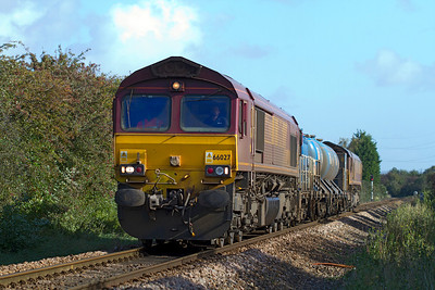 66027 and 66126 top & tail the Barton Hill based Rail Head Treatment Train with FEA's 642027 & 642046 away from Worle Junction running as 3S59 07.46 Moreton-on-Lugg to Weston-super-Mare. Tuesday 16th October 2012.