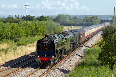 71000 'Duke of Gloucester' & 60163 'Tornado' storm past Middle Street, Brent Knoll with Pathfinder Tour's 'Tamar Devonian' from Eastleigh to Plymouth with steam haulage from Bristol Temple Meads. Saturday 28th July 2012.