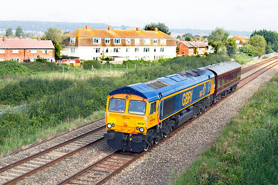 66737 'Lesia' heads the 2Z01 10.45 Bristol Parkway to Bishops Lydeard inspection saloon 6320 past Oldmixon on the Weston-super-Mare avoiding line. Saturday 8th September 2012.
