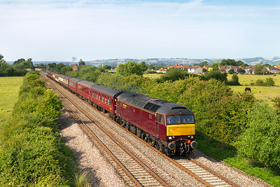"57601 heads ""The Saltburn Riviera"" 1Z71 08.10 Saltburn to Torquay charter past Crooked Lane, Brent Knoll with 57313 dead on the rear. Friday 5th July 2013."