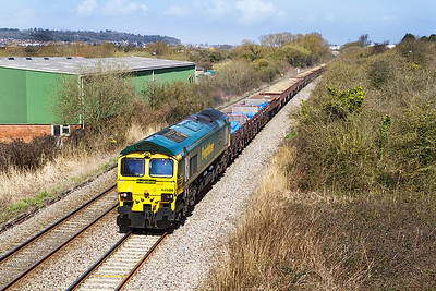 66526 'Driver Steve Dunnn (George)' passes Winterstoke Road on the Weston-super-Mare avoiding line with 6Y86 12.29 Westbury to Cogload Junction. Tuesday 14th April 2013.