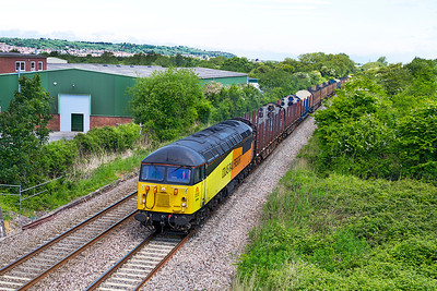56094 passes Winterstoke Road on the Weston-super-Mare avoiding line with 6Z52 07.13 Chirk to Teigngrace empty log carriers. Wednesday 5th June 2013.