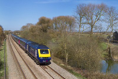 43165 & 43092 head along the Weston-super-Mare avoiding line at Hutton Moor powering 1Z10 14.36 Paddington to Penzance diverted via Bristol Parkway due to the engineering work on the Westbury to Taunton route. This service ran non-stop from Reading to Taunton. Tuesday 16th April 2013.