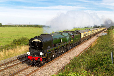 """34046 'Braunton' heads the """"Torbay Express"""" from Bristol Temple Meads to Kingswear past Brean Road, Lympsham. Sunday 1st September 2013."""