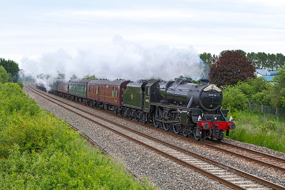 """44932 passes Oldmixon on the Weston-super-Mare avoiding line with """"The Royal Duchy"""" Bristol Temple Meads to Par. Sunday 16th June 2013."""
